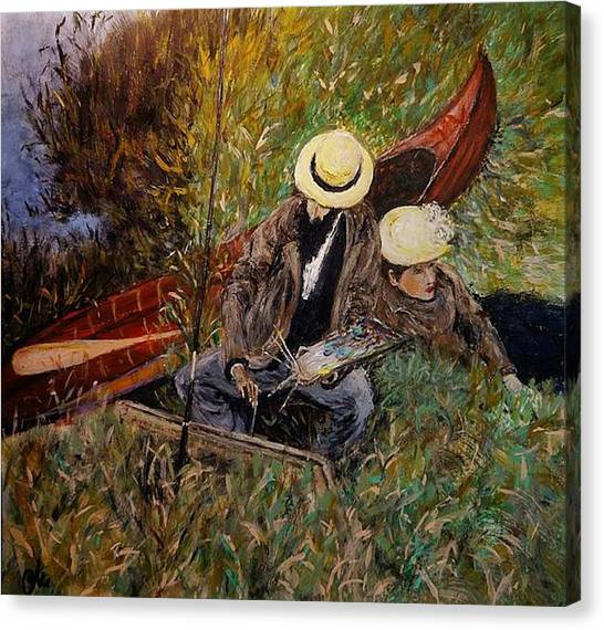 After John Singer Sargent- Paul Cesar Helleu Sketching With His Wife 1889 Canvas Print