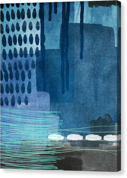 Rain Drops Canvas Print - After Rain- Contemporary Abstract Painting  by Linda Woods