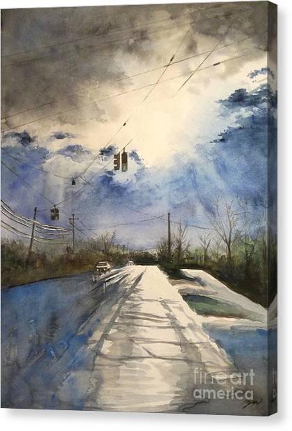 After Rain -on The Michigan Ave. Saline Michigan Canvas Print