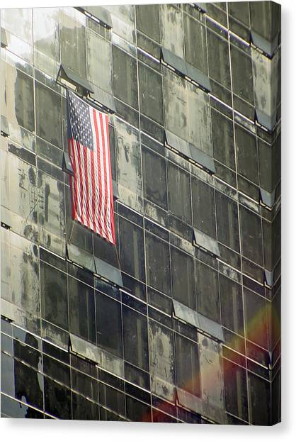 After Sep. 11 Flag On Millennium Hotel Canvas Print
