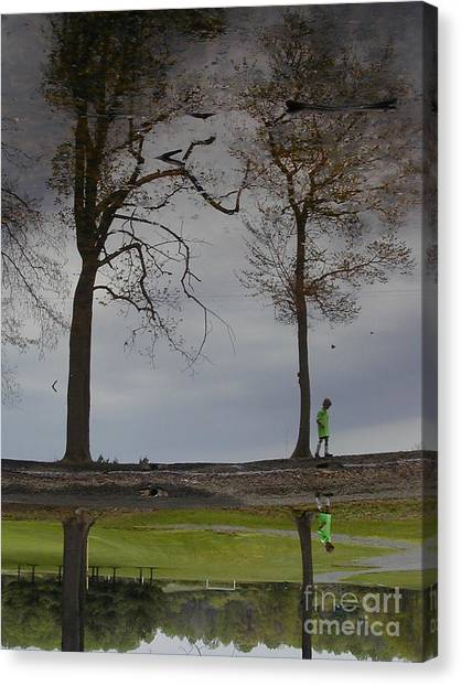 After Soccer By The Pond Canvas Print