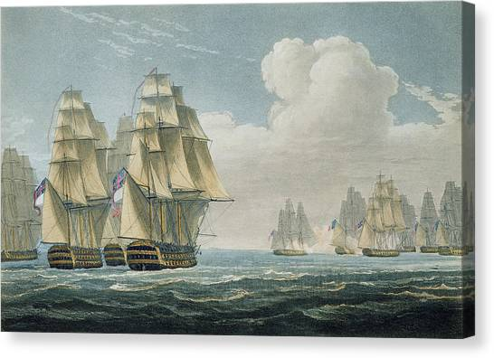 Navy Canvas Print - After The Battle Of Trafalgar by Thomas Whitcombe