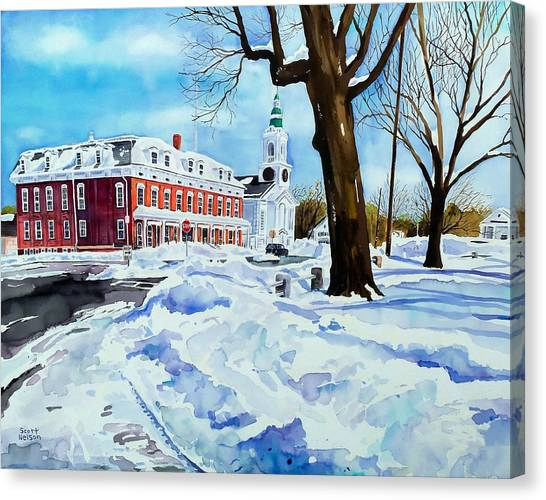 After The Grafton Common Snow Canvas Print by Scott Nelson
