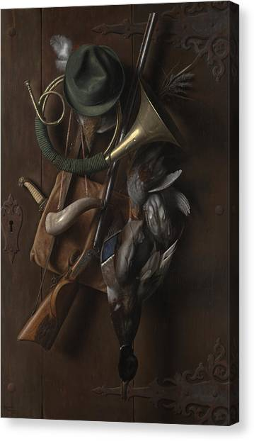 Shotguns Canvas Print - After The Hunt by William Michael Harnett