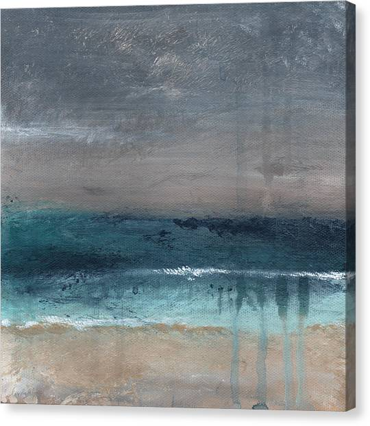 Squares Canvas Print - After The Storm- Abstract Beach Landscape by Linda Woods