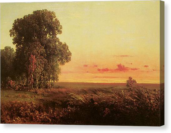 Prairie Sunsets Canvas Print - Afterglow On The Prairie by George Inness