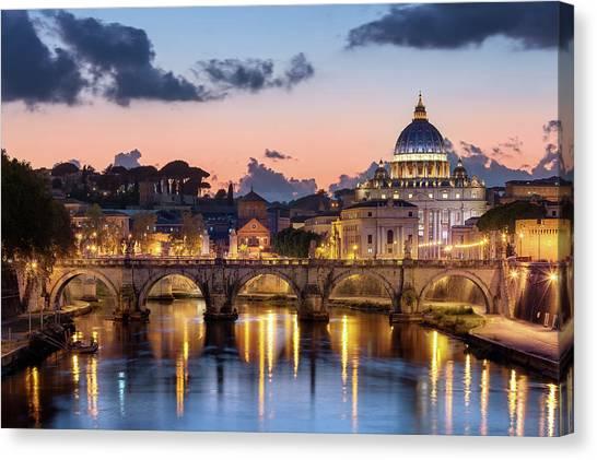 Afterglow, St Peters Basilica, Rome Canvas Print by Joe Daniel Price