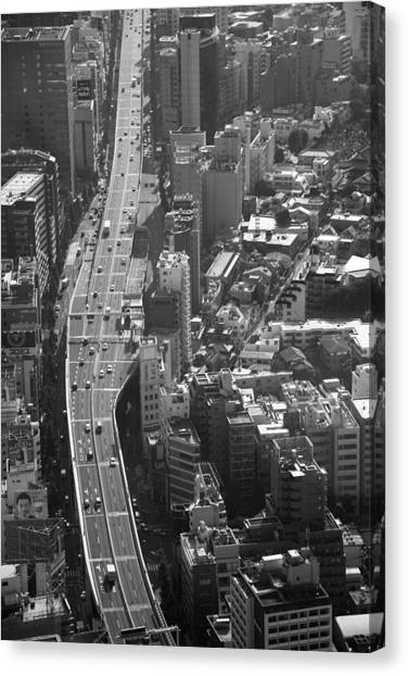 Canvas Print featuring the photograph Afternoon Above Tokyo by Brad Brizek