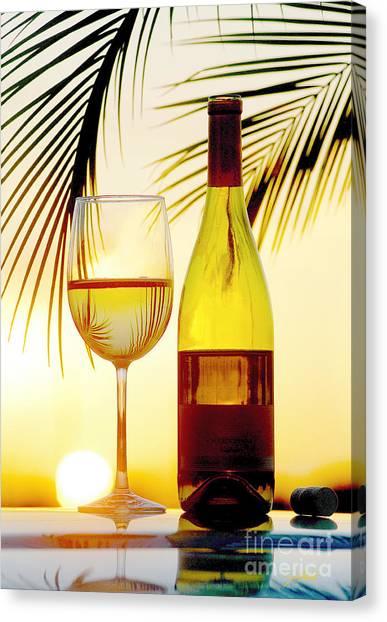 Wine Bottles Canvas Print - Afternoon Delight by Jon Neidert