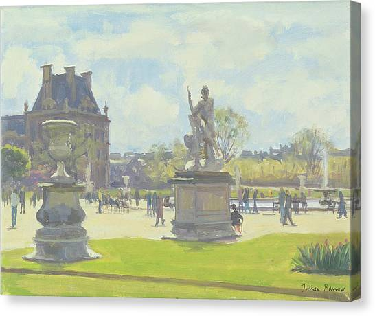 Parisian Canvas Print - Afternoon In The Tuileries, Paris Oil On Canvas by Julian Barrow