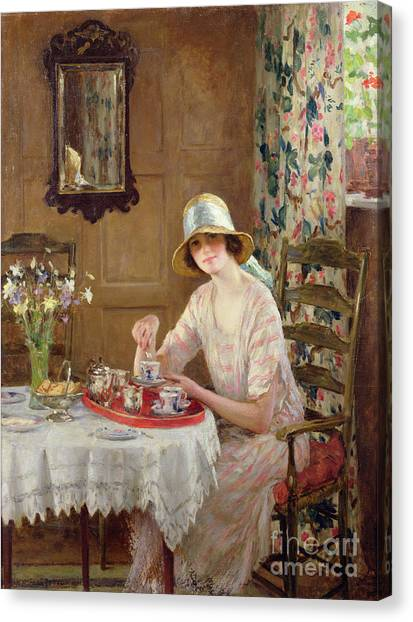 Sweet Tea Canvas Print - Afternoon Tea by William Henry Margetson