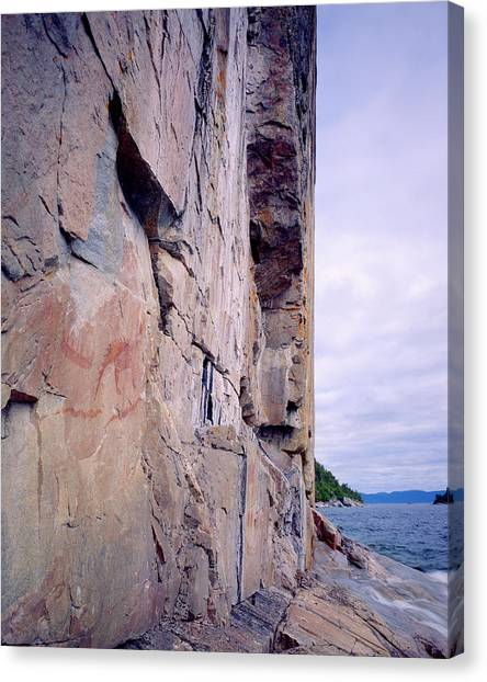 Agawa Indian Pictographs Canvas Print by Tim Hawkins