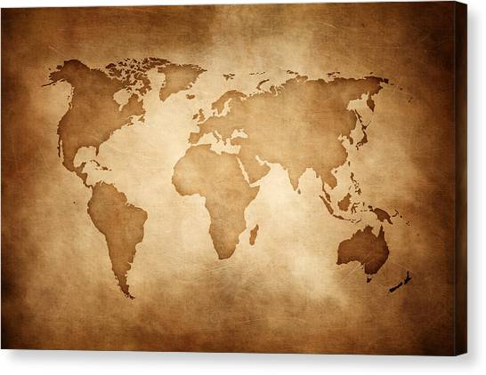 Aged Style World Map, Paper Texture Background Canvas Print by Sankai