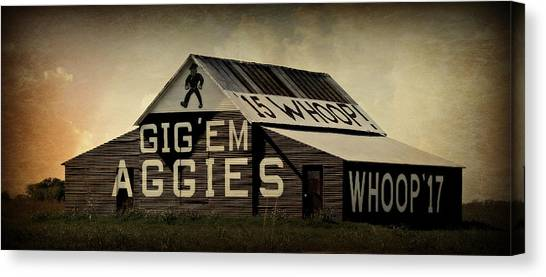 The University Of Texas Canvas Print - Aggie Barn 5 - Whoop by Stephen Stookey