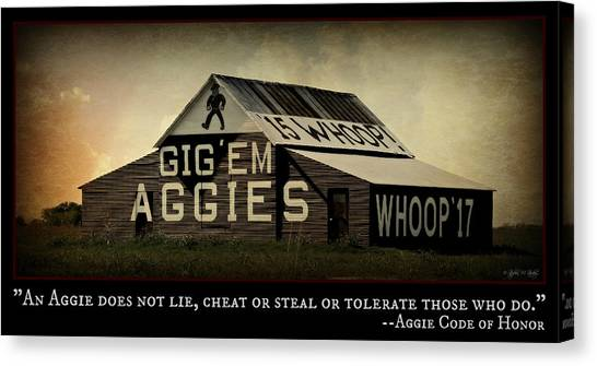 The University Of Texas Canvas Print - Aggie Barn - Aggie Code Of Honor by Stephen Stookey
