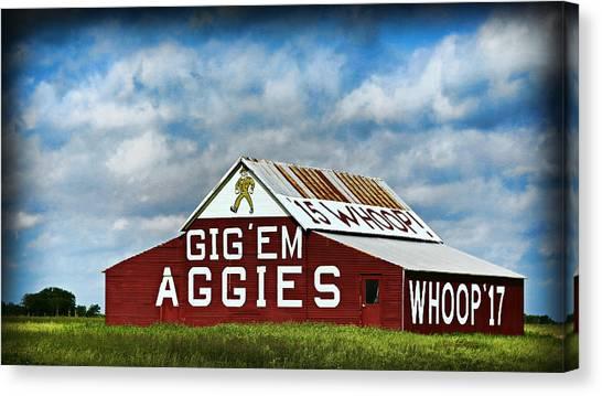The University Of Texas Canvas Print - Aggie Barn 3 - Gig Em by Stephen Stookey