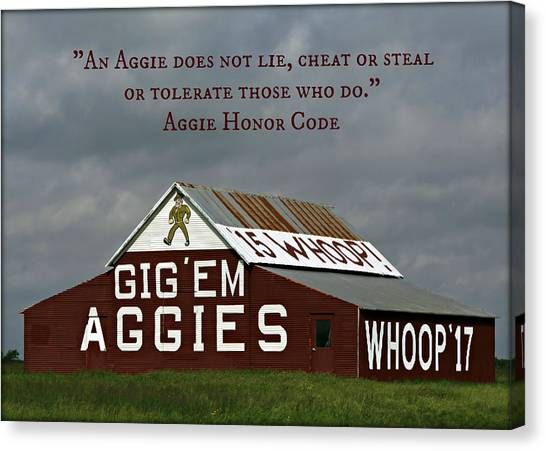 The University Of Texas Canvas Print - Aggie Honor by Stephen Stookey