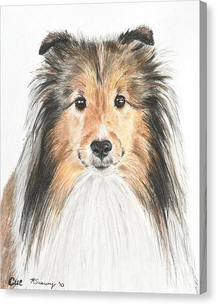 Agility Dog Sheltie In Pastel Canvas Print