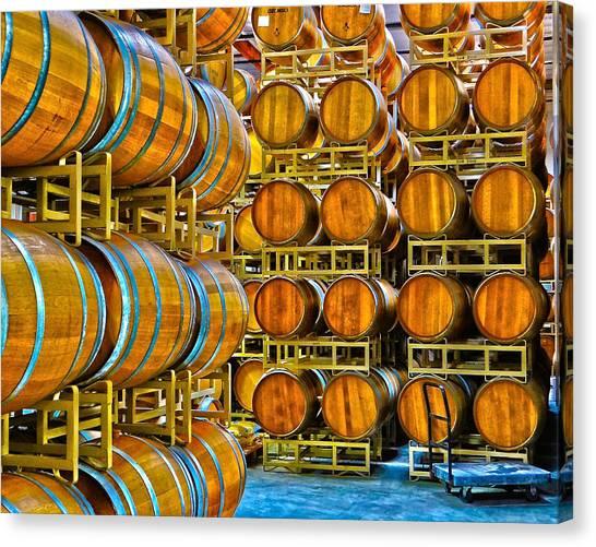 Aging Wine Barrels Canvas Print