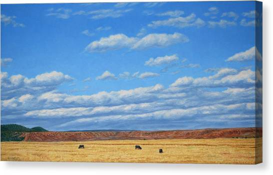 New Mexico Canvas Print - Grazing by James W Johnson