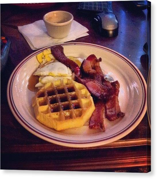 Bacon Canvas Print - Ah Breakfast! #waffles #bacon #eggs by Nick Matthis