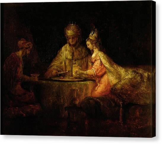 Old Testament Canvas Print - Ahasuerus Xerxes, Haman And Esther, C.1660 Oil On Canvas by Rembrandt Harmensz. van Rijn