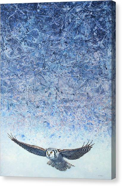 Owls Canvas Print - Ahead Of The Storm by James W Johnson
