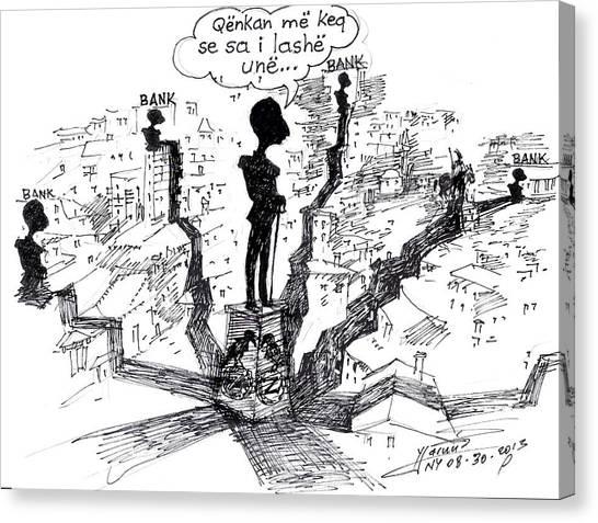 Caricatures Canvas Print - Ahmet Zogu Hijet Mbreterore Ne Tirane  by Ylli Haruni