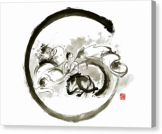 Kung Fu Canvas Print - Aikido Enso Circle Martial Arts Sumi-e Original Ink Painting Artwork by Mariusz Szmerdt