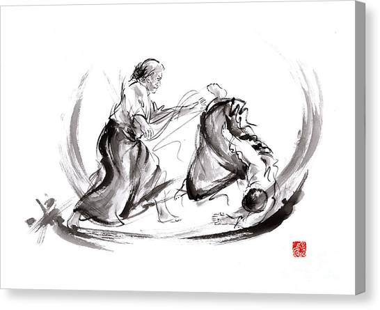 Kung Fu Canvas Print - Aikido Fight Scenery Martial Arts Drawing Painting Sketch Art Draw Japan Japanese School by Mariusz Szmerdt