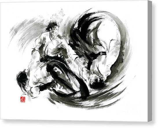 Yin Yang Canvas Print - Aikido Randori Fight Popular Techniques Martial Arts Sumi-e Samurai Ink Painting Artwork by Mariusz Szmerdt