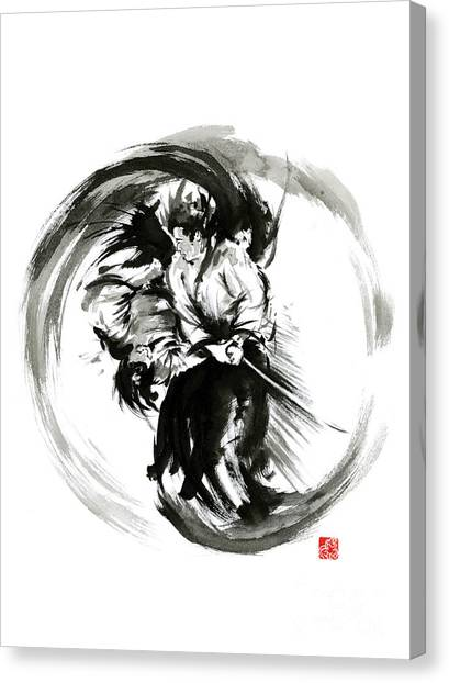 Kung Fu Canvas Print - Aikido Techniques Martial Arts Sumi-e Black White Round Circle Design Yin Yang Ink Painting Watercol by Mariusz Szmerdt