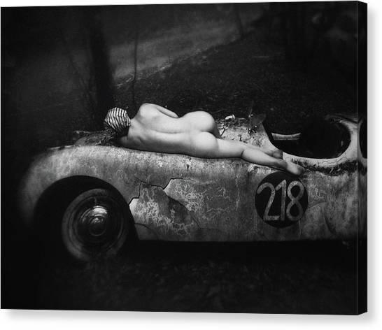 Classic Cars Canvas Print - Aimee & Jaguar by Holger Droste