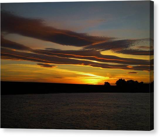 Air Brushed River Sunset Canvas Print