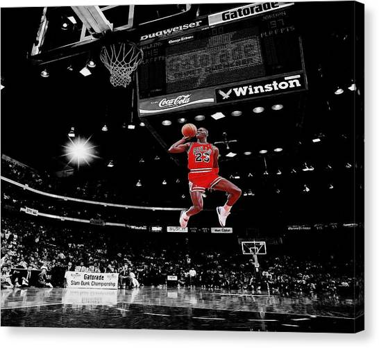 Slam Dunk Canvas Print - Air Jordan by Brian Reaves