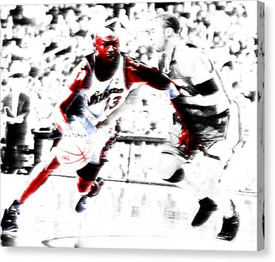 La Lakers Canvas Print - Air Jordan Drive On Kobe by Brian Reaves