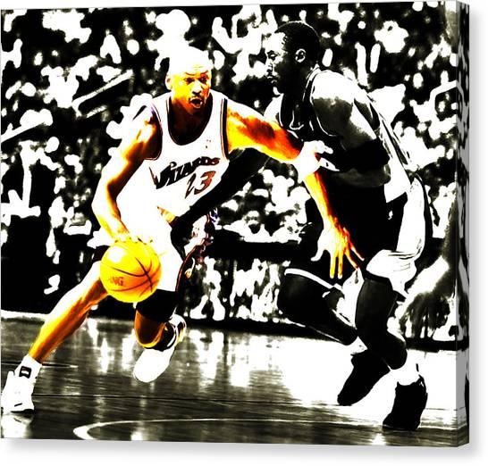 La Lakers Canvas Print - Air Jordan Drive On Kobe II by Brian Reaves