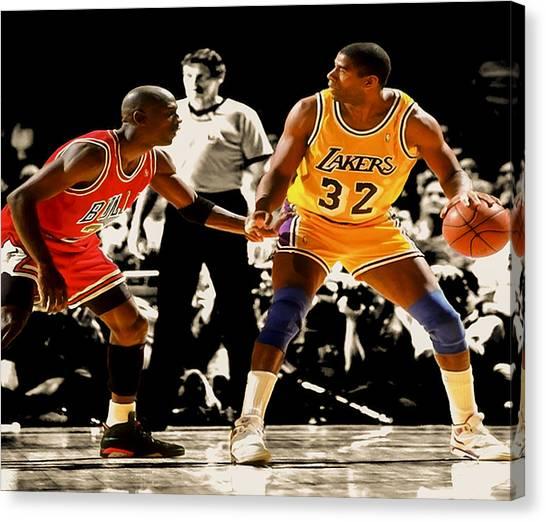La Lakers Canvas Print - Air Jordan On Magic by Brian Reaves