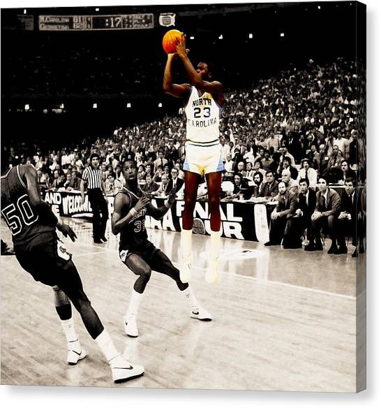 New York Knicks Canvas Print - Air Jordan Unc Last Shot by Brian Reaves