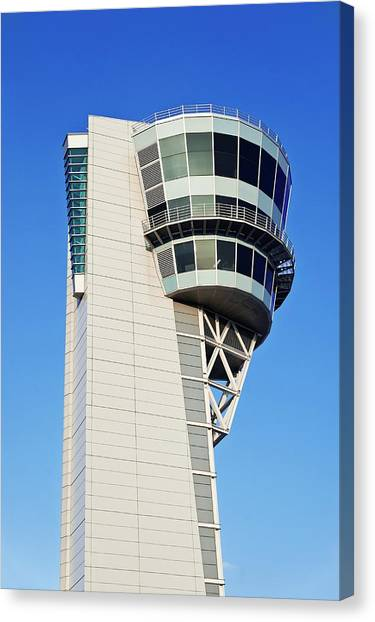 Air Traffic Control Canvas Print - Air Traffic Control Tower by John Greim/science Photo Library
