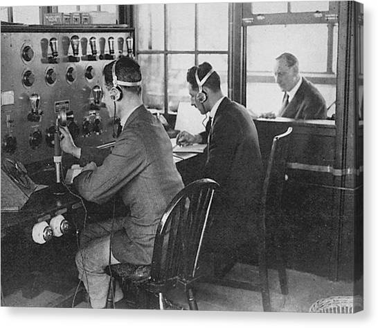 Air Traffic Control Canvas Print - Air Traffic Controllers In The  Control by Mary Evans Picture Library
