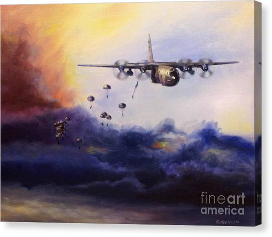 Paratroopers Canvas Print - Airborne Jump by Stephen Roberson