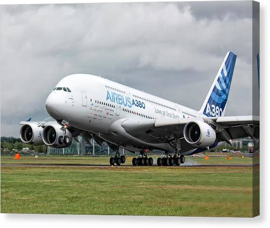 Airbus A380 Landing Canvas Print