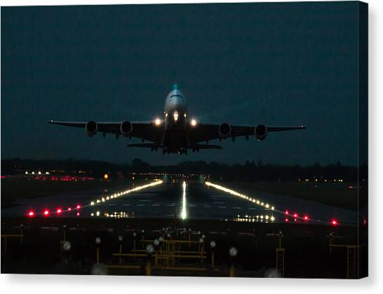 Airbus A380 Take-off At Dusk Canvas Print