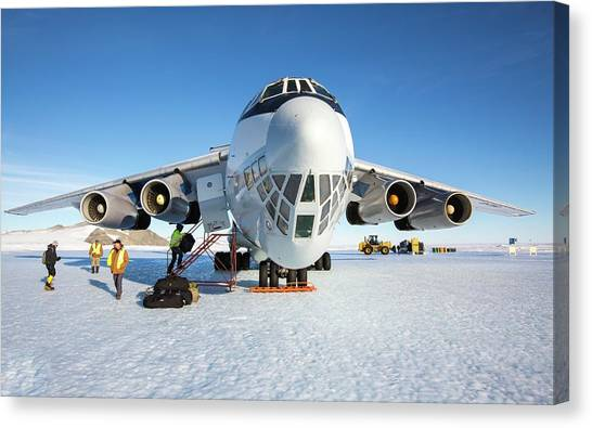 Antarctica Canvas Print - Aircraft At Runway In Antarctica by Peter J. Raymond