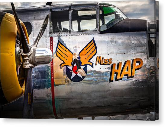 Aircraft Nose Art - Pinup Girl - Miss Hap Canvas Print