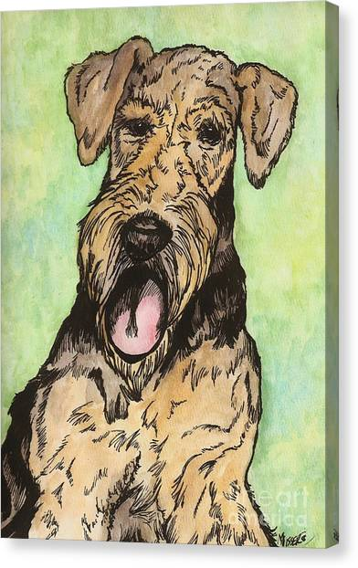 Airedale Ink Canvas Print