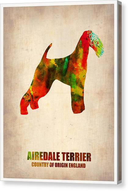 Terrier Canvas Print - Airedale Terrier Poster by Naxart Studio