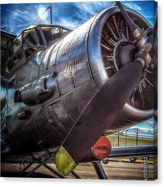 Biplane Canvas Print - #airplane #airport #biplane #old by David Lamberti