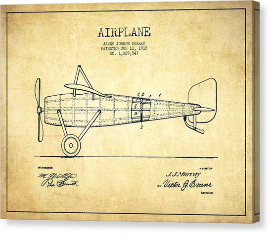 Airplanes Canvas Print - Airplane Patent Drawing From 1918 - Vintage by Aged Pixel